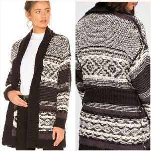 FP black Cozy Cabin belted Cardigan Sweater coat